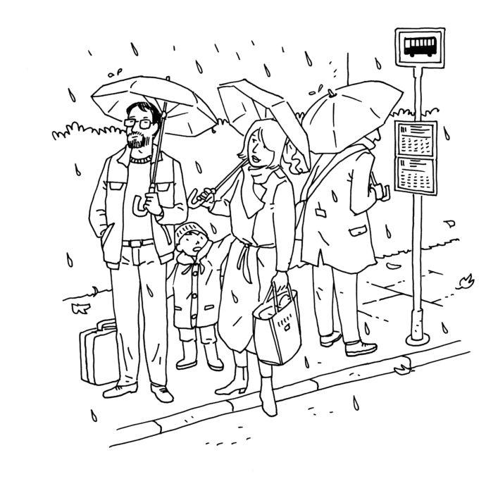 Busstoppested i regnvejr