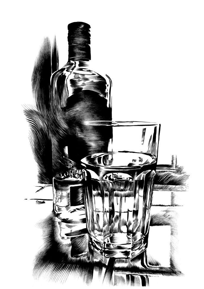 Stilleben flaske og glas