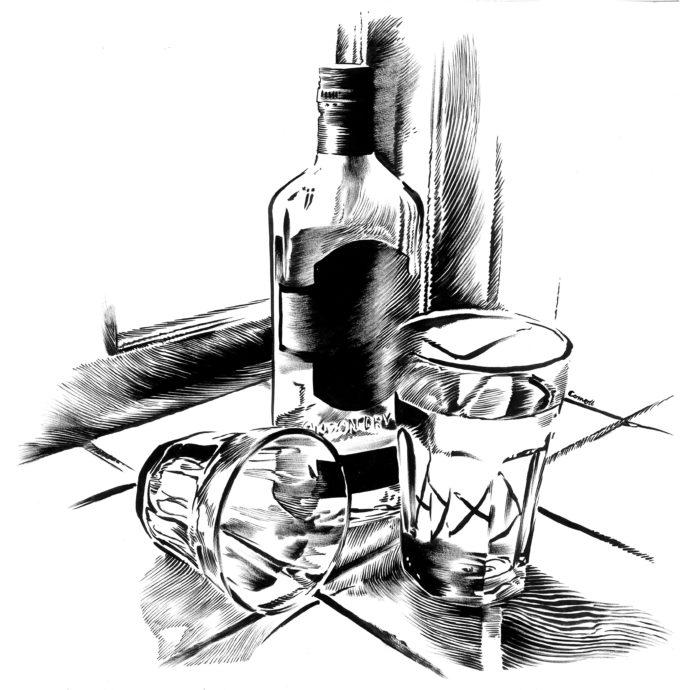 Stilleben flaske og to glas